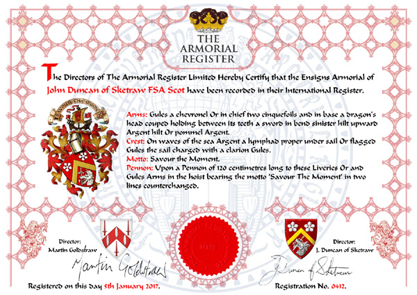 The Armorial Register, Personalised Registration Certificate