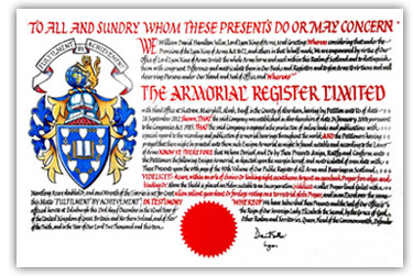Grant of Arms The Amorial Register Ltd. - Click for Larger Image